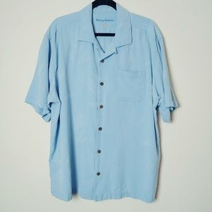 Tommy Bahama Blue Silk Button Up Shirt. Size XL